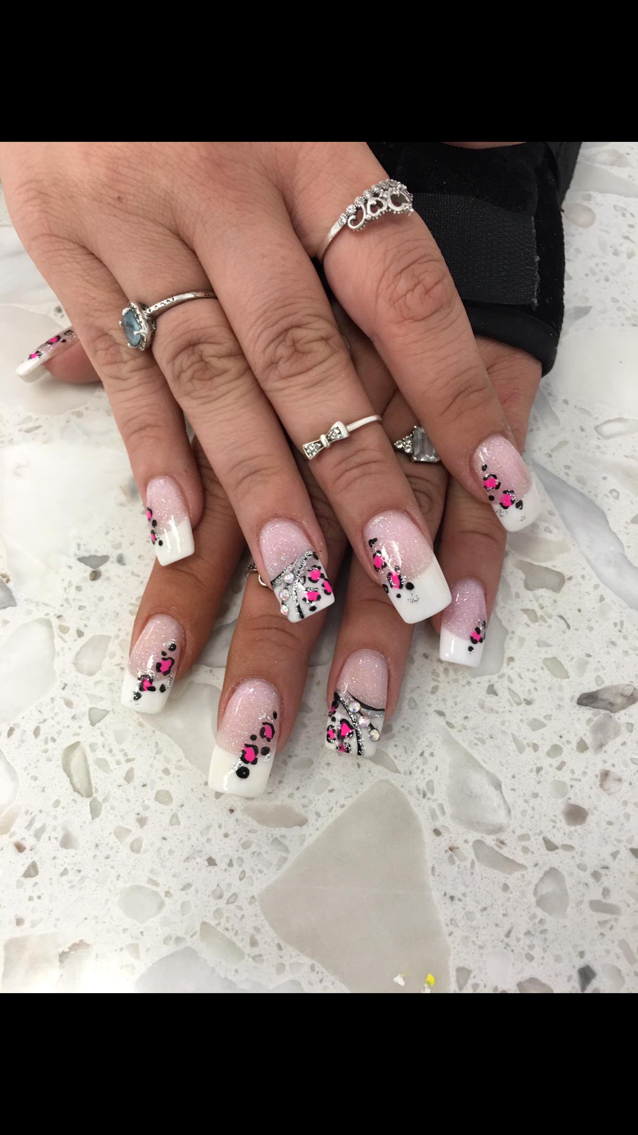 Pink and White ANC Rhinestone Glitter Cheetah Nail Design Nail Art ...
