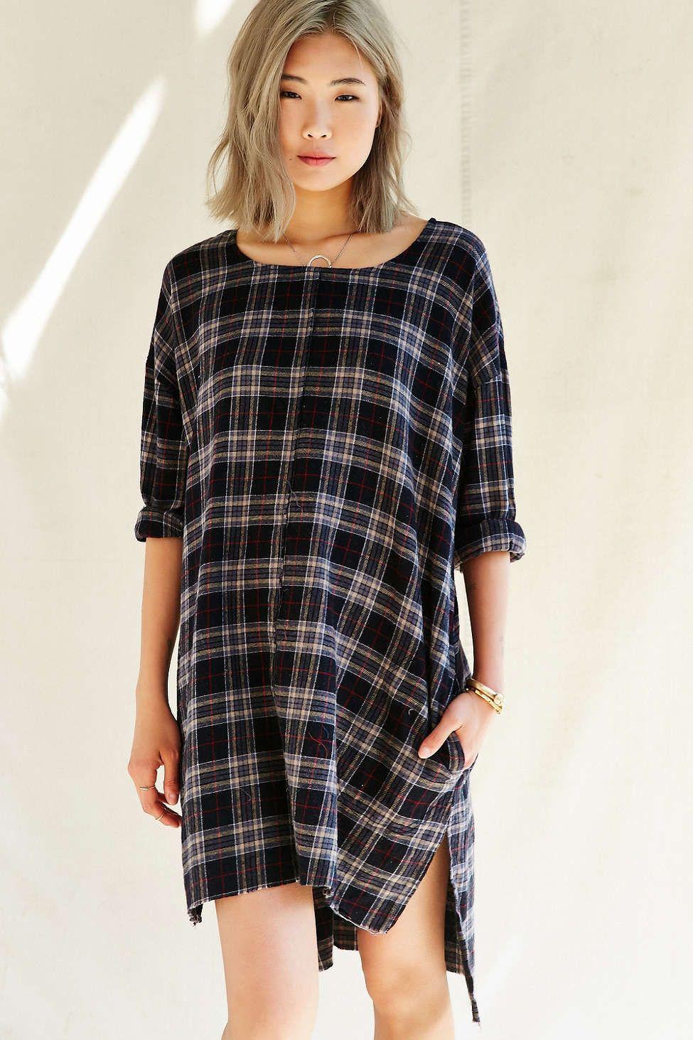 Urban Renewal Remade Plaid Flannel Raw Edge Dress Urban Dresses Clothes Design Black Dress With Pockets [ 1463 x 975 Pixel ]