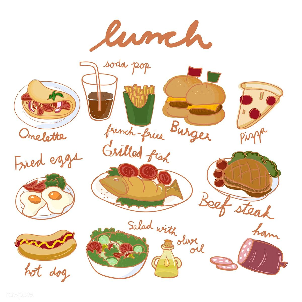 Download free vector of Illustration drawing style of food collection 60186