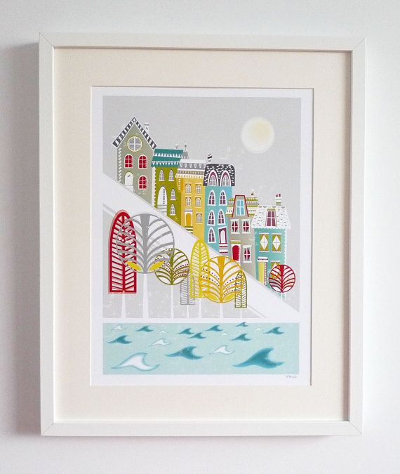 Hill houses San Francisco  Large A3 Print by lauraamiss on Etsy, €25.00