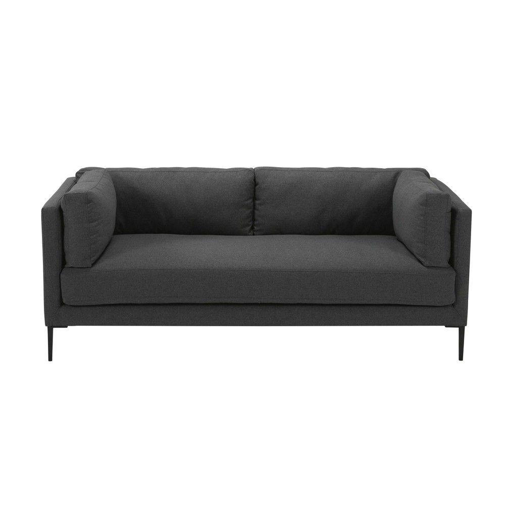 Sofa stoff  3-Sitzer-Sofa aus anthrazitfarbenem Stoff | Style New Classics ...