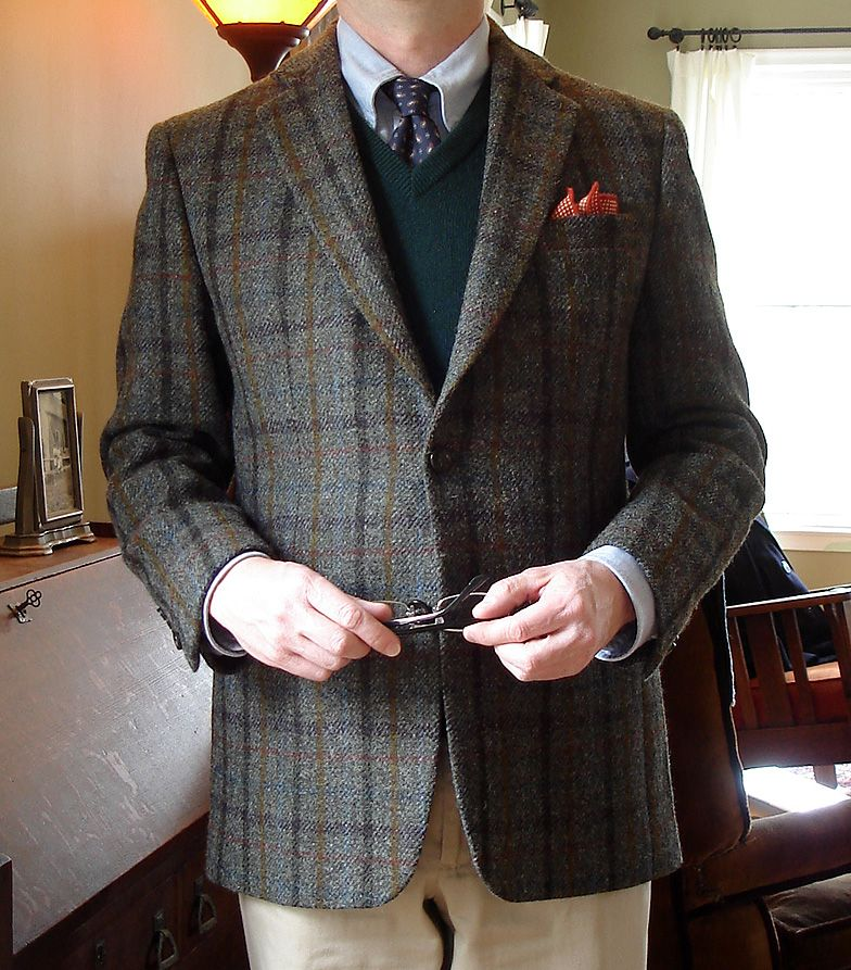 Stafford Harris Tweed; Brooks Brothers blue OCBD and three-ply ...