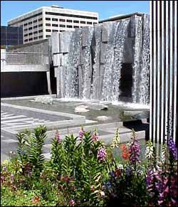 yerba Buena Park is built on top of San Francisco's Moscone Convention Center. Above is a waterfall dedicated to Martin Luther King also its free to the public
