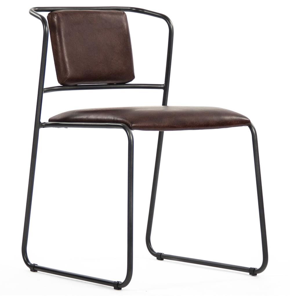 rustic leather dining chairs. Artemis Mid Century Modern Industrial Rustic Iron Leather Dining Chair Chairs