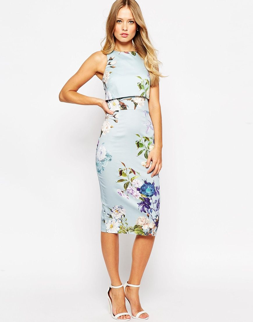 Image 4 of ASOS Crop Top Pencil Dress in Baby Blue Floral | The I ...