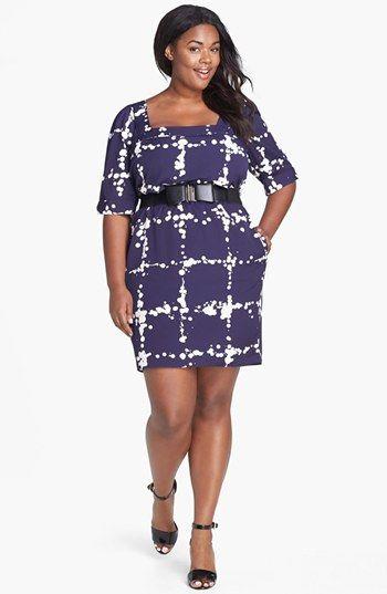 32cd173972a Jessica Simpson Bow Belt Print Sheath Dress (Plus Size)