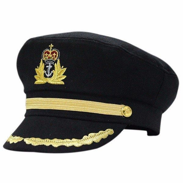 Men Unisex Sailor Hat Officer for Night Nautical Fancy Dress Captain Cap Cotton