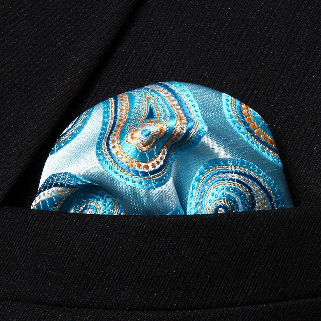 HP705Q Aqua Orange Paisley Men 100% Silk Party Handkerchief Pocket Square Hanky
