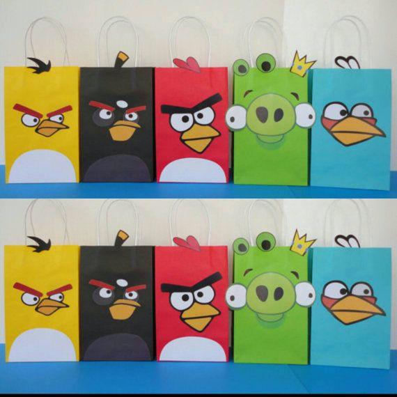 Instant Download Angry Birds Favor Bags Diy Angry Birds Goody Bags Party Bags Goodie Bags Angry Birds Angry Birds Party Bird Birthday Parties Bird Birthday