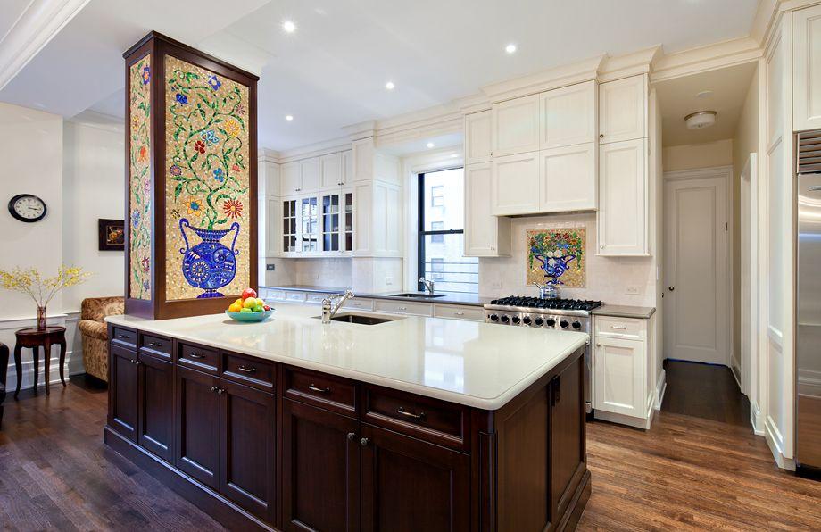 Chocolate Mahogany Island With Off White Chocolate Glaze Traditional Kitchen Cabinets Kitchen Cabinets Bath Cabinets