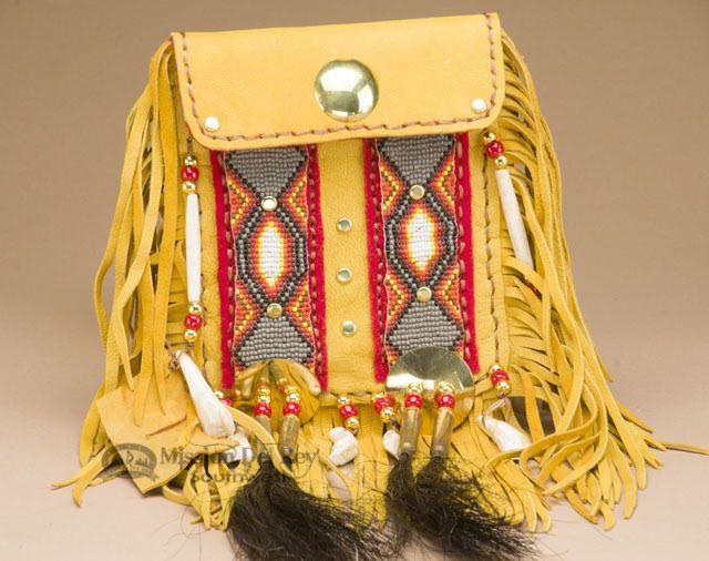 """Native American Side Bag 6x7"""" -Elk Hide (b445) - Mission Del Rey Southwest"""
