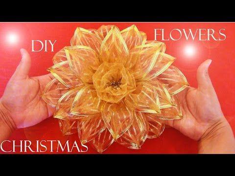 Diy Moños Navideños Christmas Flowers Manualidades Navideñas Cinta De Organza Cómo Hacer Moños Navideños