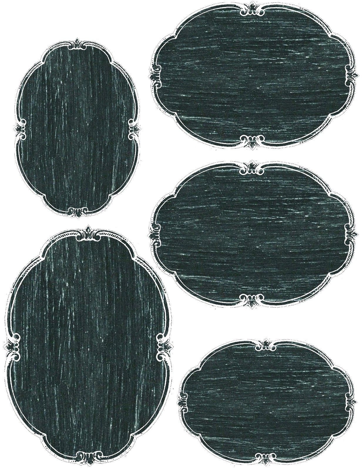 photo about Free Printable Chalkboard Labels titled Blank oval chalkboard labels (3 measurements) ~ no cost printable