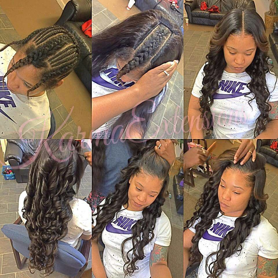 Middle Part Sew In Braid Pattern Cool Design