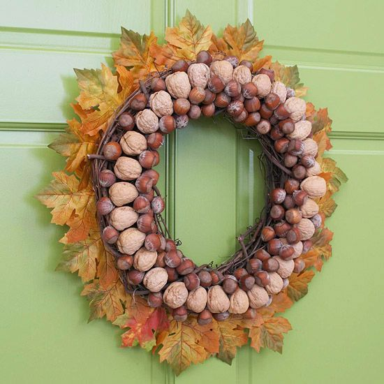 Nuts-and-Leaves Wreath Welcome fall with a splendid wreath made from leaves and nuts. Use hot glue to attach artificial leaves, walnuts, or other hard-shell nuts in a ring around the front of a grape-vine wreath. Add hazelnuts to the inside center of the wreath to finish the look.