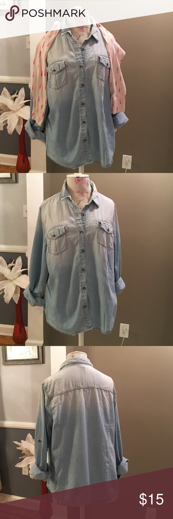 """Bundle of two button down shirts Denim top - Mossimo light weight denim shirt. 100% cotton. Covered pockets on the front. Silver button closure. Button and tab on each arm for the option to roll up your sleeves. Size says XXL but it fits like a large.  Excellent condition. 23"""" across the front.  Plaid top- Gap Blue red and white plaid; 99% cotton 1% spandex; 23 inches from armpit to armpit. GAP Tops Button Down Shirts"""