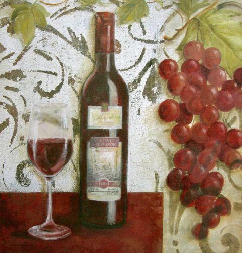 Carol-Robinson-Wine-Tasting-II-Fertig-Bild-30x30-Wandbild-Wein - wandbilder für die küche
