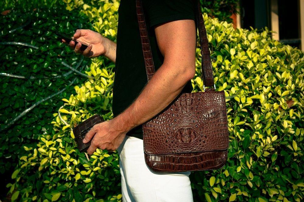 fd5070e6a05d Мужская сумка из натуральной кожи крокодила коричневого цвета / Mens bag of  genuine bro… | Exotic Leather Accessories / Аксессуары из экзотической кожи  ...
