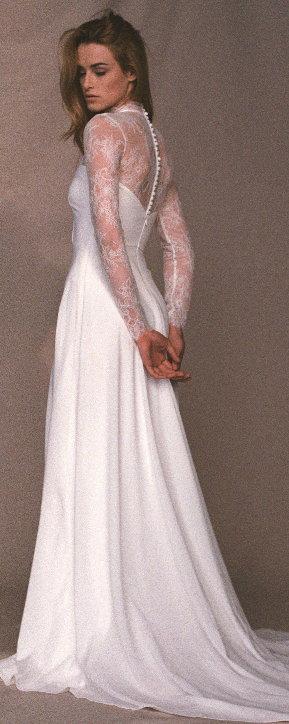 Long sleeve ivory wedding dress  Lace wedding dress  High neck light ivory wedding gown  Offwhite