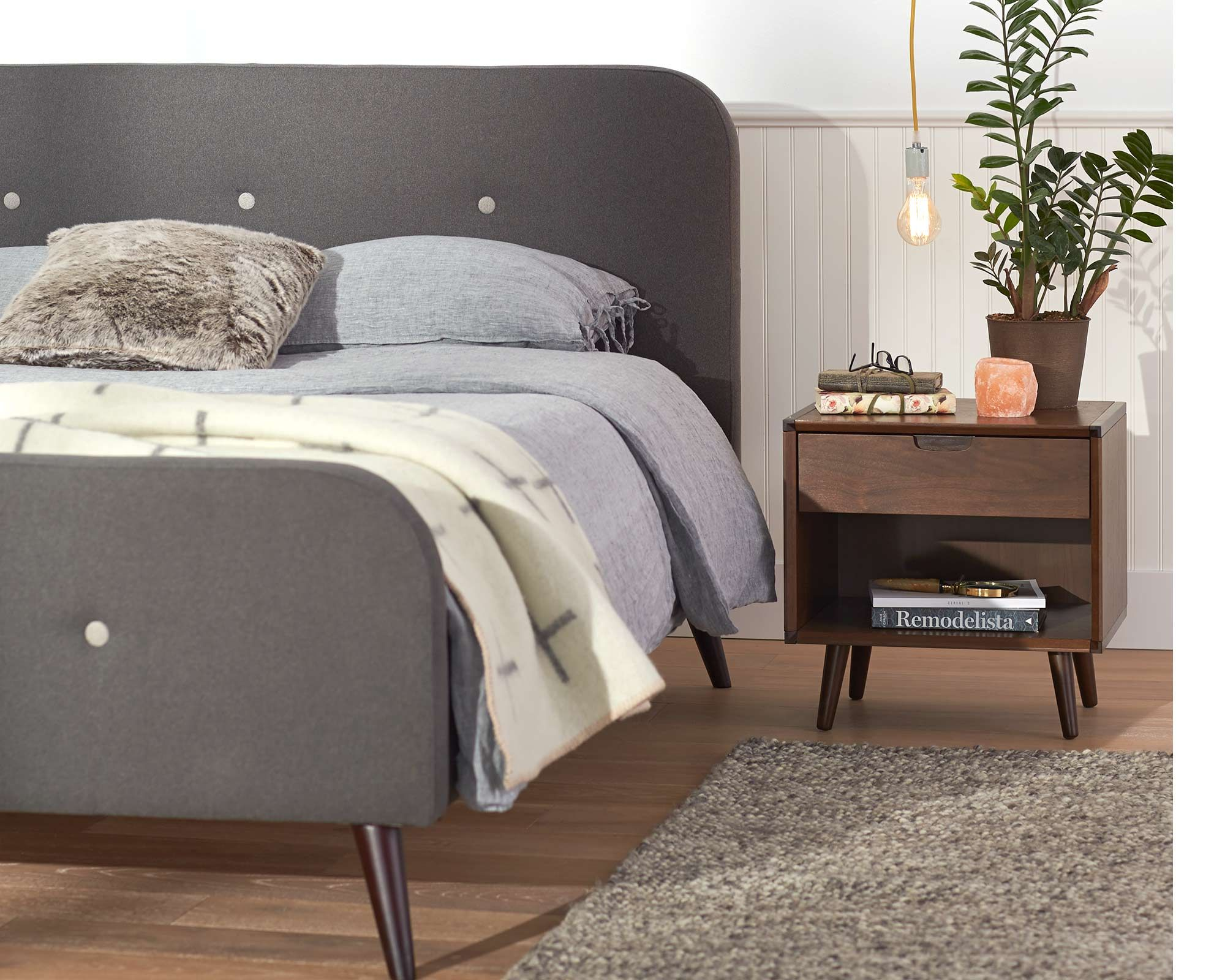 Virklund Upholstered Bed & Juneau Nightstand from