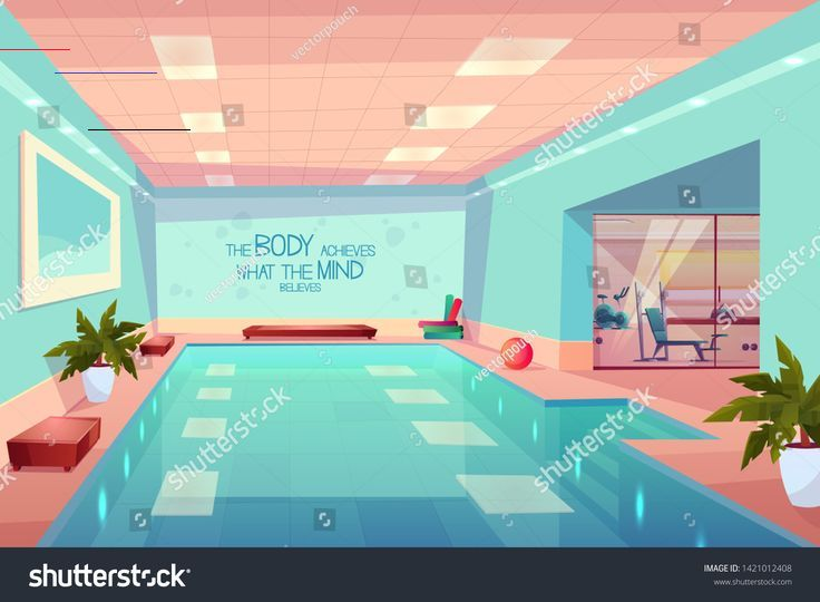 Swimming pool in gym interior, empty sport fitness center with equipment, training apparatus, hotel...