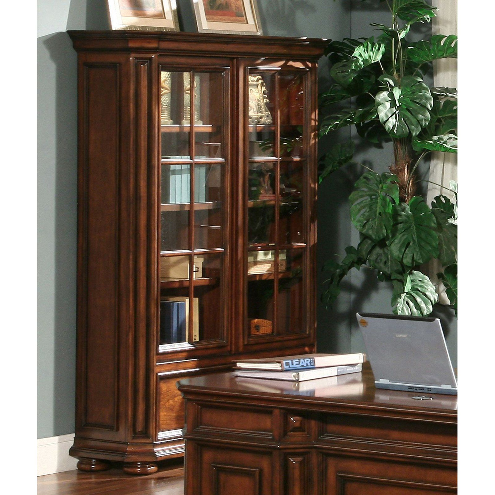 Have To Have It Riverside Cantata Windowpane Bookcase With Doors 1885 5 Hayneedle