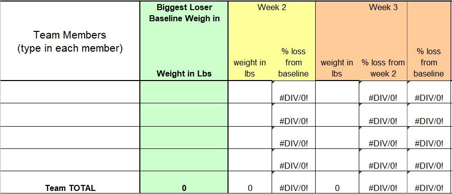 biggest loser challenge spreadsheet