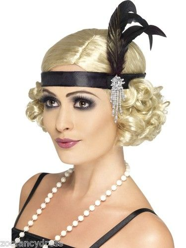 CHOICE Adult Flapper Wig Curly w Stretch Sequin Headband Blond or Black Costume