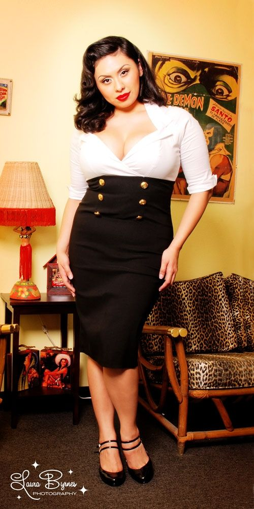 Military Secretary Dress in White and Black by Pinup Couture - Plus ...