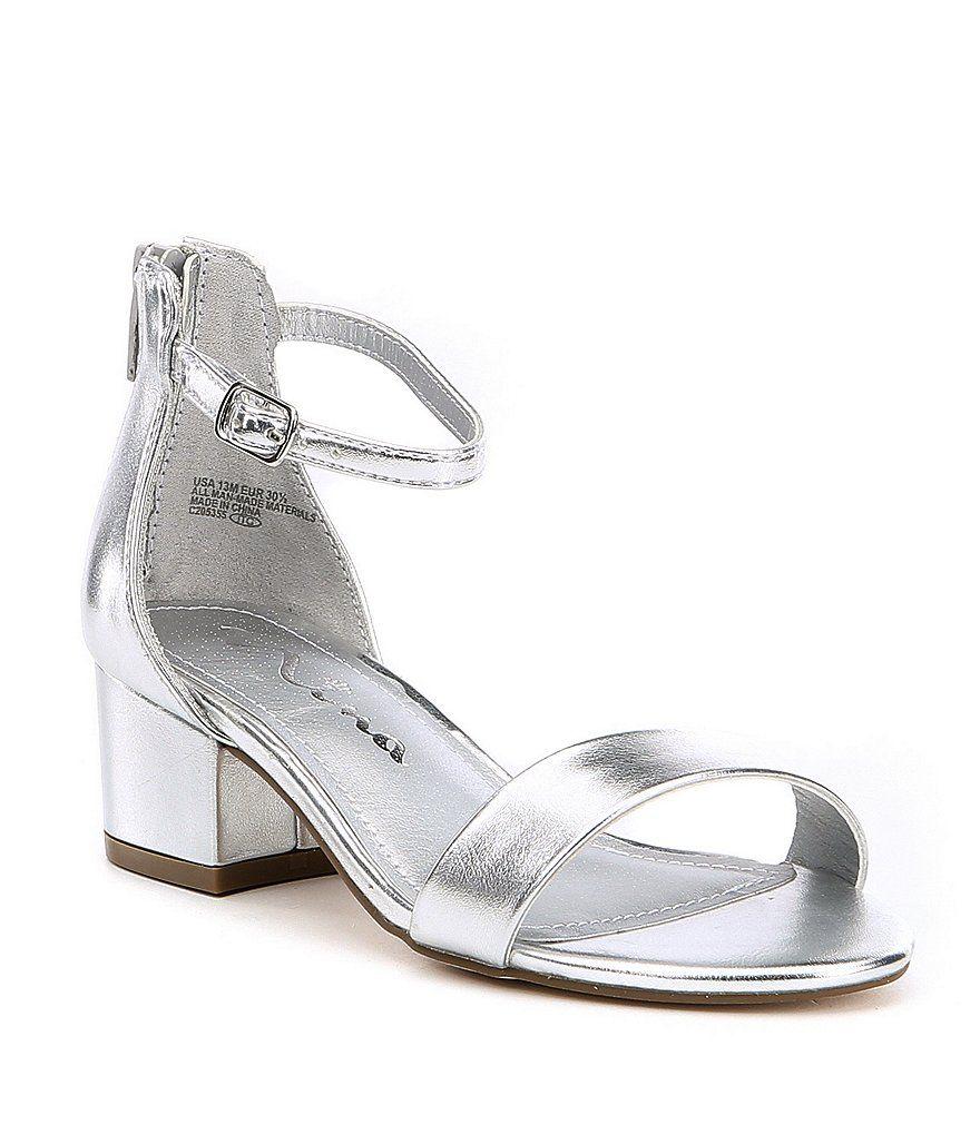17a7900204d Nina Girls  Hidi Metallic Ankle Strap Block Heel Sandals in 2019 ...