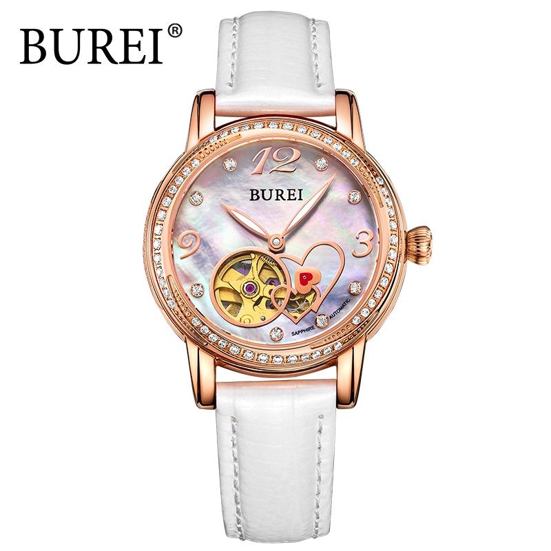 114.95$  Buy here - http://alihac.worldwells.pw/go.php?t=32673670306 - BUREI Luxury Brand Watch Women Crystal Diamond Automatic Genuine Leather Sapphire Analog Wristwatch Lady 2017 Fashion Watches