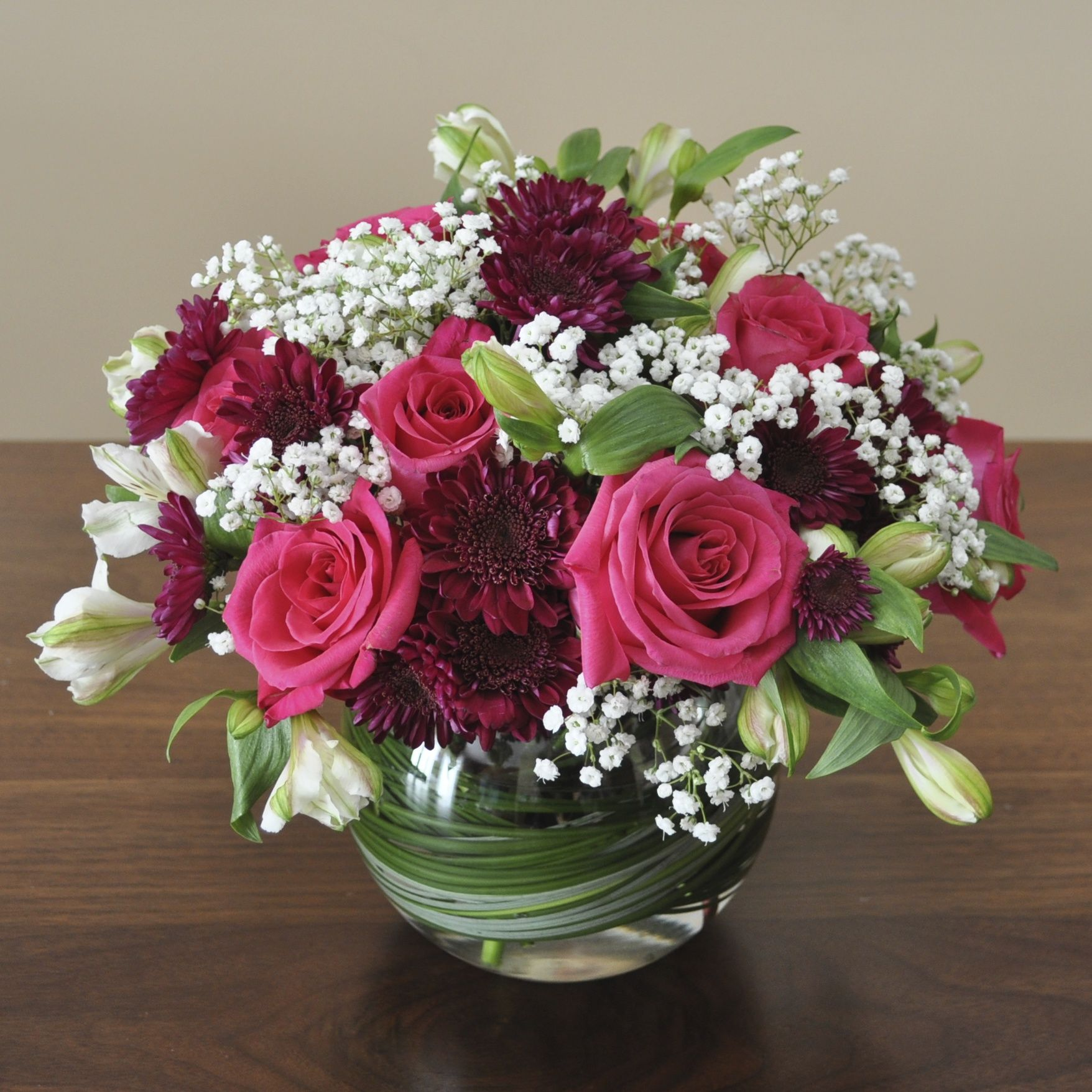 A Pretty Round Arrangement To Welcome A Baby Girl S Arrival Fresh Flowers Arrangements Rose Arrangements Floral Arrangements