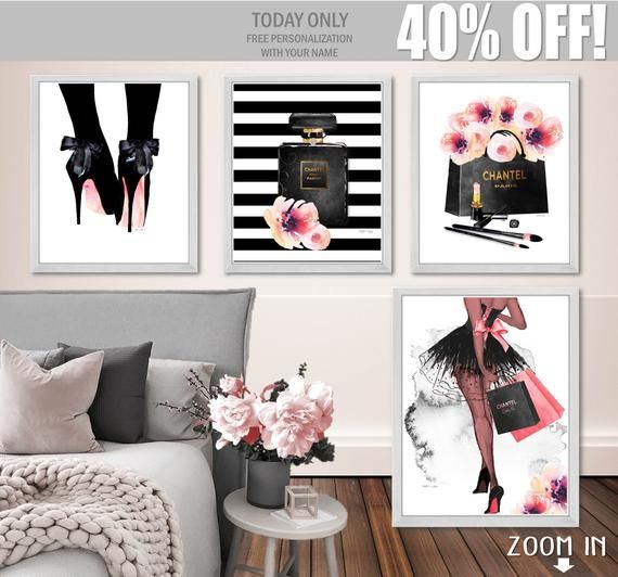 Fashion Wall Art Set Of 4 Digital Download Canvas Prints Fashion Illustration African American Perfume High Heels Designer Shopping Bag Gift Wall Art Sets Fashion Wall Art Art Set