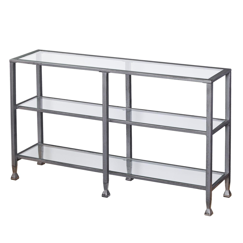 Glass console table with shelf harper blvd jensen metalglass tier console tablemedia stand