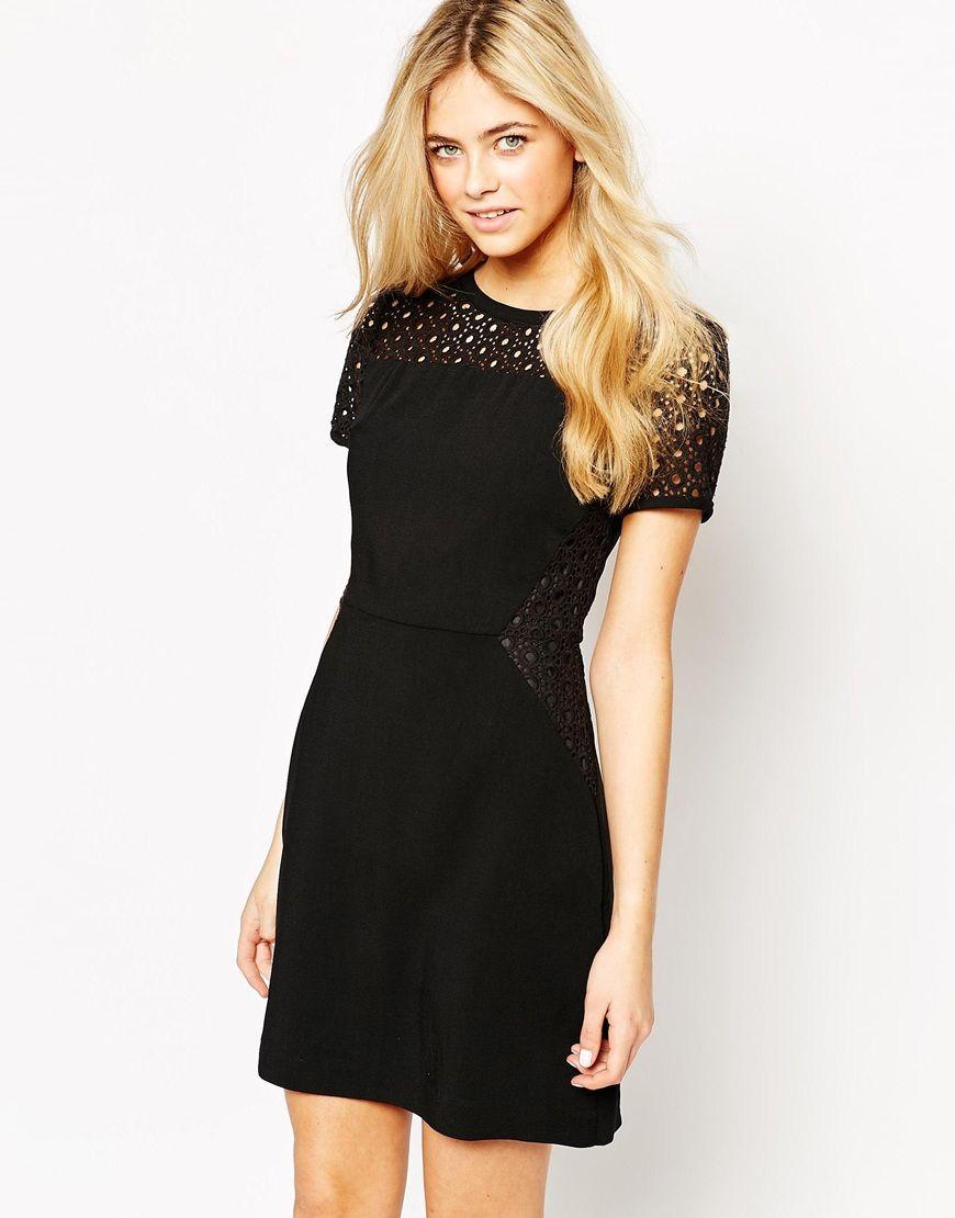 Oasis lace patched dress little black dress pinterest models