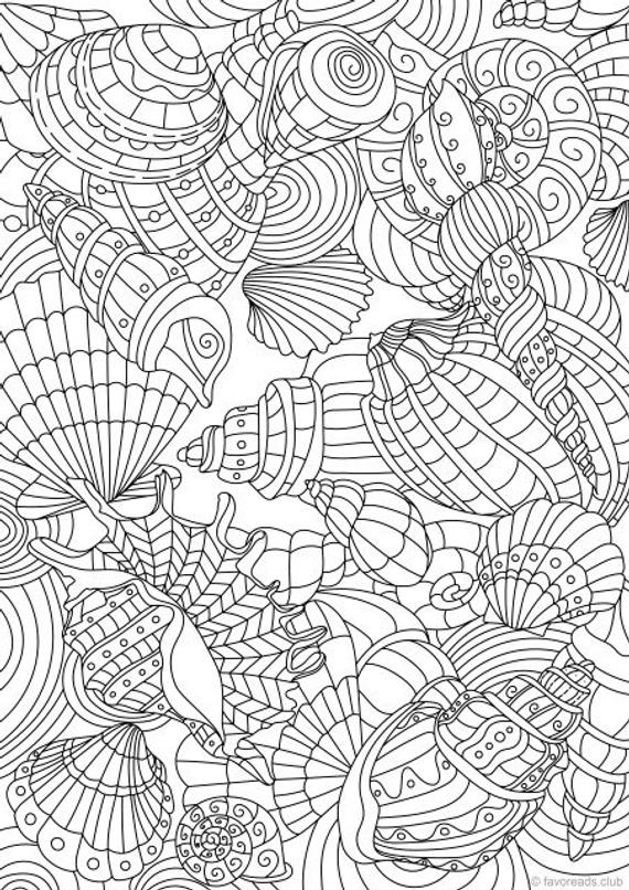 Shell Pattern Printable Adult Coloring Page From