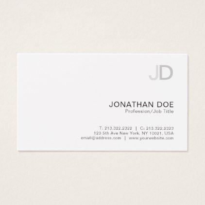 Create your own modern elegant monogram plain business card reheart Gallery