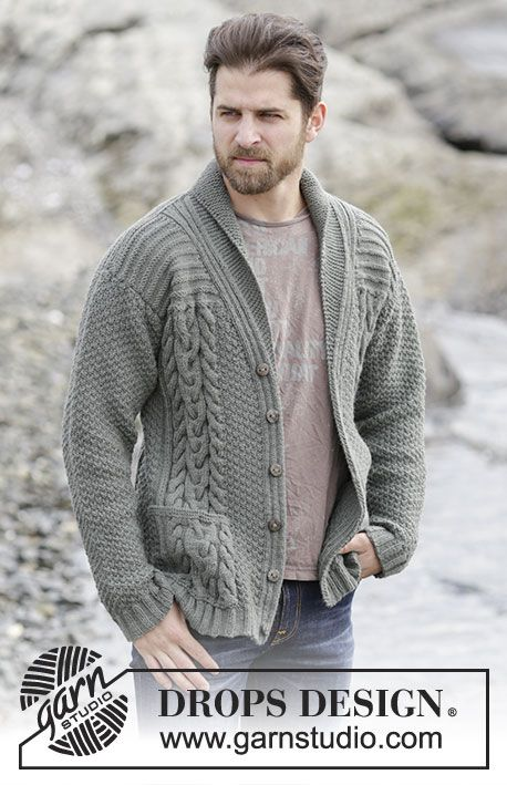 "Finnley - Knitted DROPS men s jacket with cables and shawl collar in  ""Lima"". Size  S - XXXL. - Free pattern by DROPS Design 537070306b39"