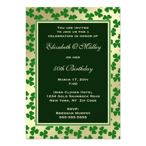 green irish shamrocks birthday party invitation in 2018 st