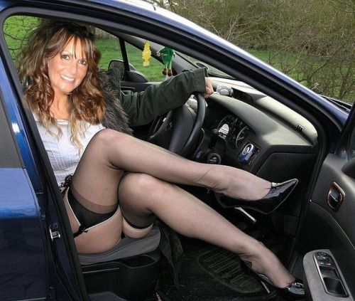 Pantyhose and heels in cars