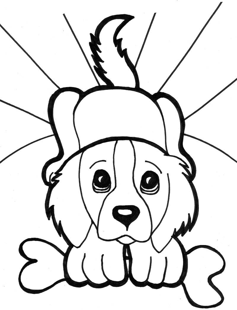 Face Puppies With Bone Coloring Page | dibujos | Pinterest