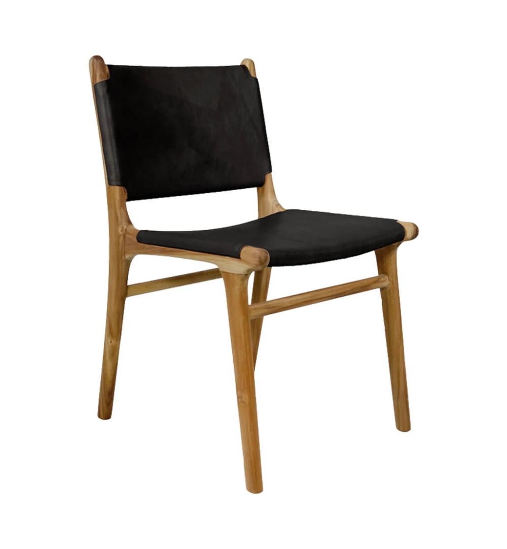 Flat Leather Dining Chair in Teak & Black - Black ...