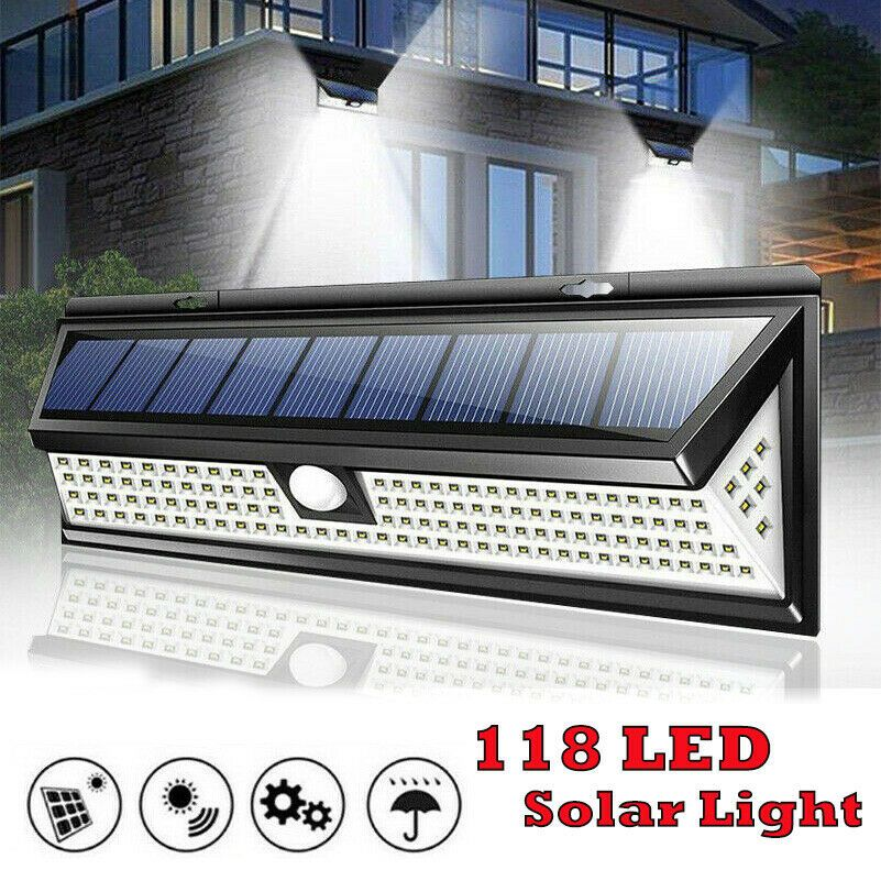 118 Led Waterproof Solar Lamp Outdoor Garden Yard Pir Motion Sensor Wall Light Solar Lamp Solar Motion Sensor Lights Outdoor Solar Powered Lamp Solar Lamp