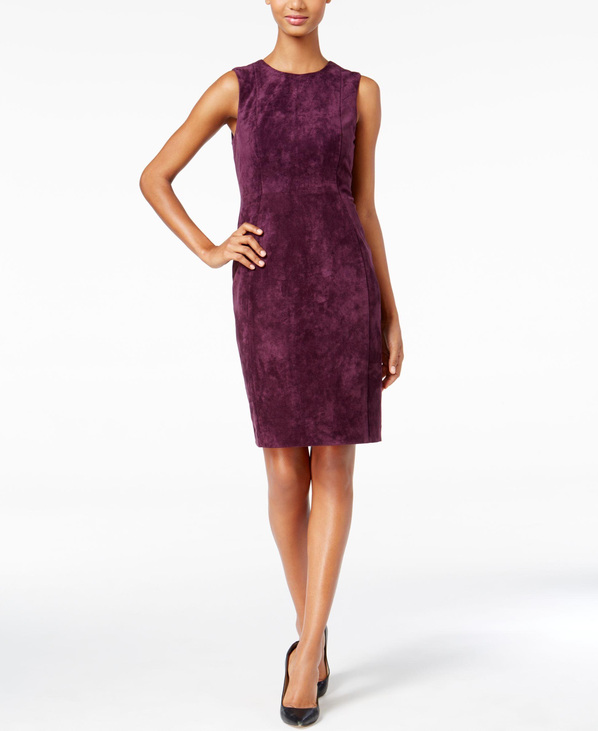 Calvin Klein Faux-Suede Sleeveless Sheath Dress