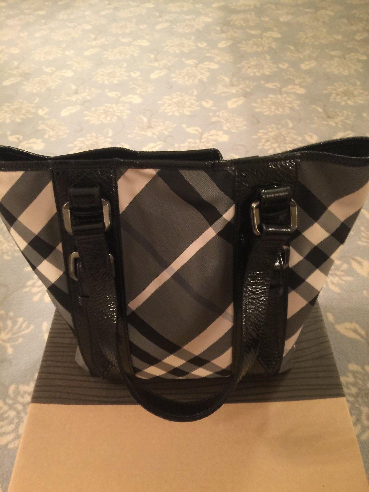 c705c7797951 AUTHENTIC BURBERRY NOVA BLACK AND WHITE CHECK HANDBAG-TOTE  225.0  burberry   handbag