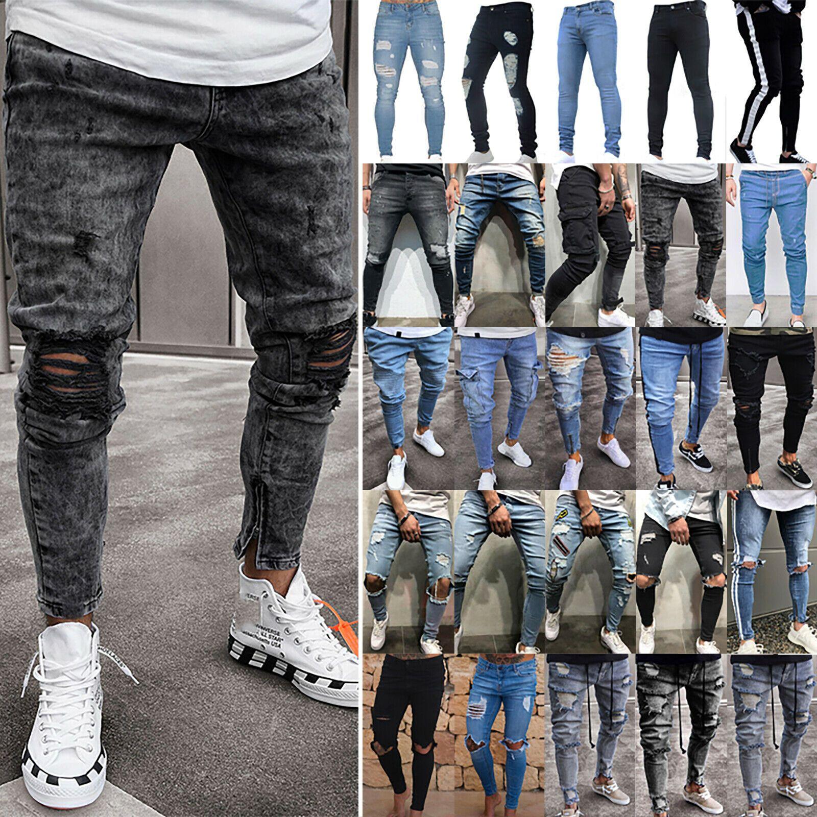 Men Jeans Trousers Skinny Ripped Frayed Casual Slim Fit Biker Jogger Denim Pants