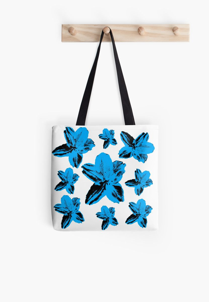Blue Tropical Flowers On White Floral Texture Tote Bag By