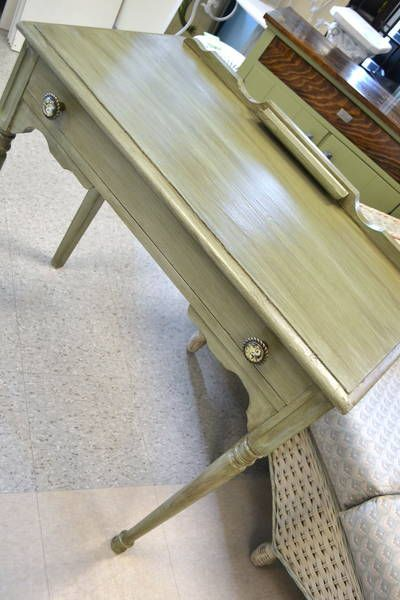"""Vintage Desk / Vanity Nicely Refreshed in Lovely Green with an Antiqued Finish -  Pencil (or Lipstick?!) Holder on Top - 1 Dovetailed Drawer - 32"""" W x 18"""" D x 19.5"""" H x 32"""" H (to top of cornice)"""