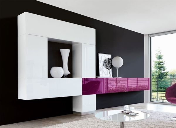 wohnzimmergestaltung wohnwand design modern wei violett. Black Bedroom Furniture Sets. Home Design Ideas