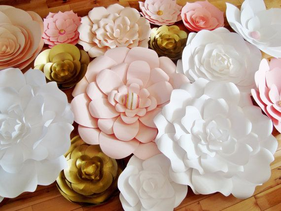 Paper Flower Backdrop Wedding And New Years Ever Decor Etsy Paper Flower Backdrop Wedding Paper Flowers Large Paper Flowers